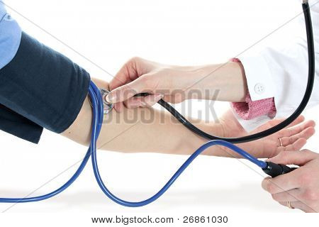 isolated stethoscope and two hands
