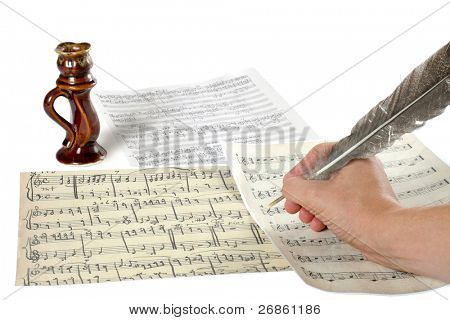 hand and music sheet at white background