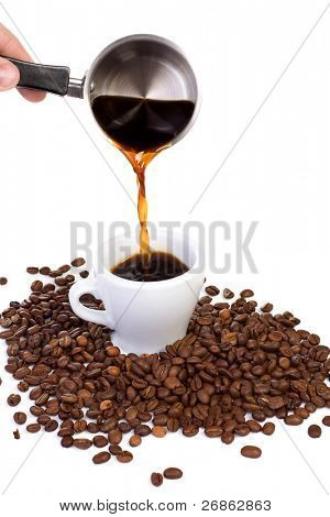 hand pouring coffee in white cup