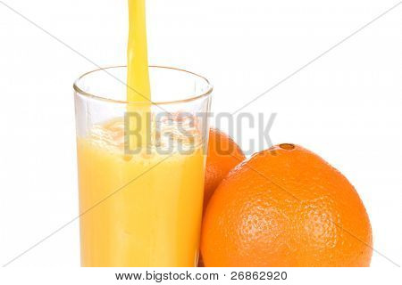 two oranges and outpouring juice