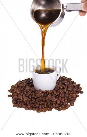 coffee pot outpouring drink in cup