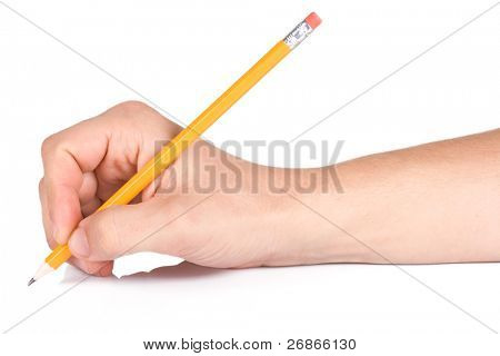 male hand writing yellow wood pencil