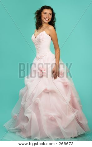 Happy Beautiful Bride In Wedding Dress