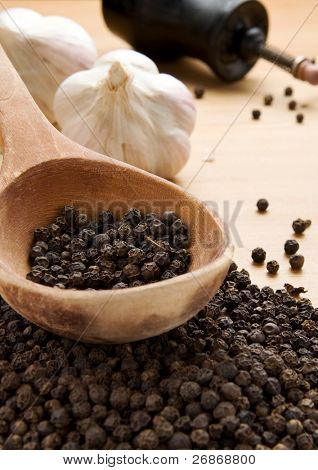 set of spices and spoon on wooden texture