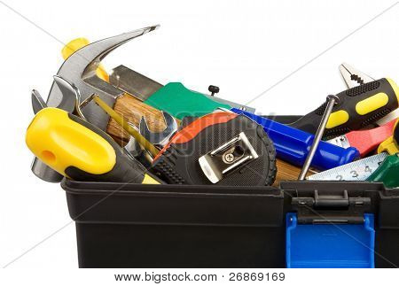 set of tools and instruments in black plastic box isolated on white background
