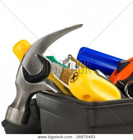 set of tools in black toolbox plastic isolated on white background