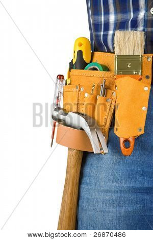 man and tools in leathern belt isolated on white background