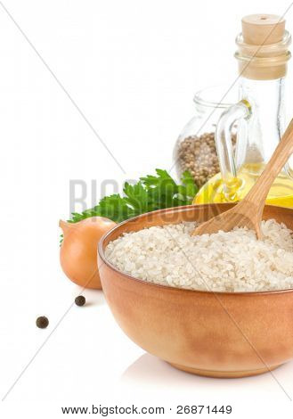 rice and healthy food isolated on white background
