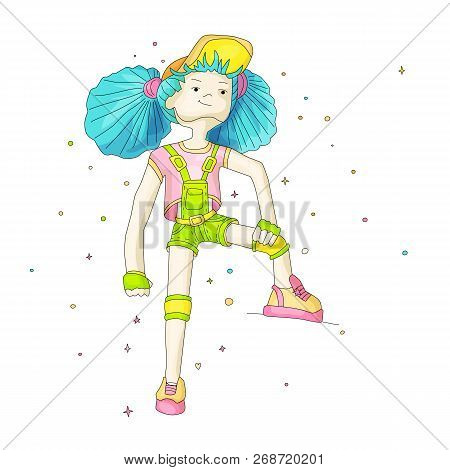 poster of Young Girl With Blue Hair In Baseball Cap And Overalls, Vector Cartoon Hand Draw Illustration. Teena