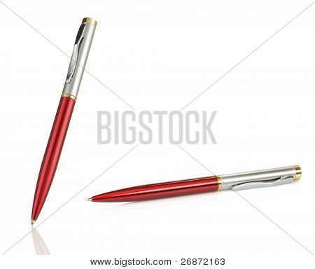 red and silver shining pens isolated on white background