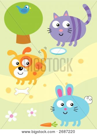 Cat,Dog And Bunny Vector Cartoon Illustration