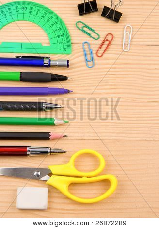 school accessory and copy space on wood
