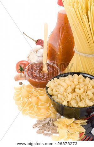 raw pasta and food ingredient isolated on white background