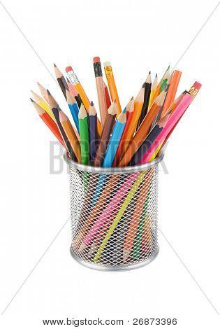 pencils and basket holder isolated on white background