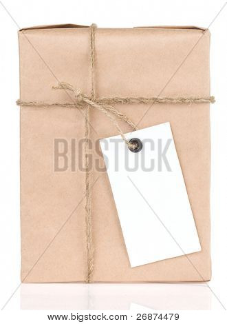 paper parcel wrapped tied with price tag isolated on white background