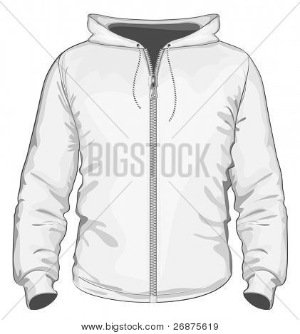 Vector. Hooded sweatshirt with zipper.