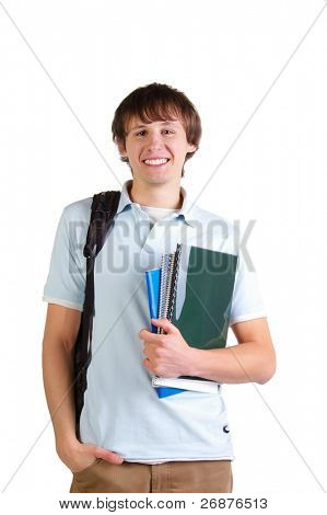 Young cute student. Isolated on a white background