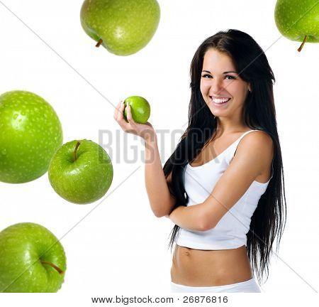 Hübsche Frau mit Apfel auf weißem Hintergrund