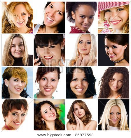 collage of photos of attractive smiling woman