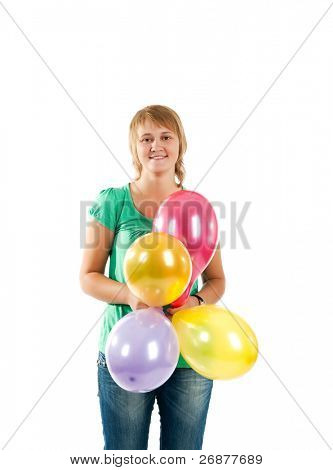 mujer linda feliz con los globos