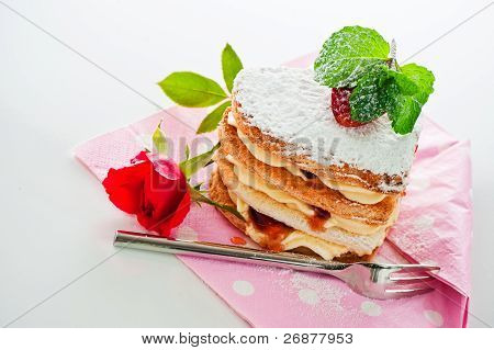 Beautiful Decorated Cake, Heart With Strawberry