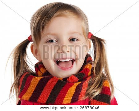 portrait of a cute little girl in a striped scarf