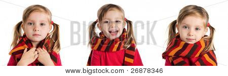 set of a cute little girl in a striped scarf photos