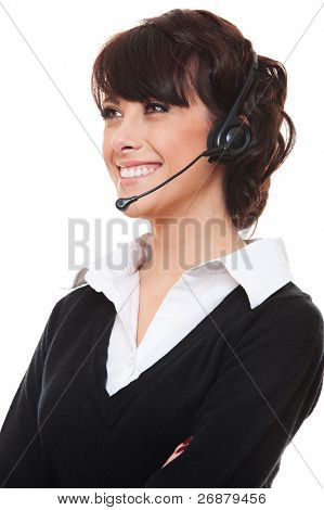 portrait of smiley telephone operator over white background