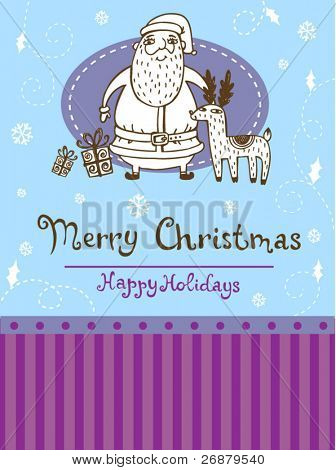 Christmas greeting card with Santa and Reindeer