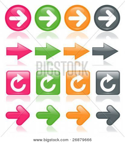 Colorful, glossy arrows, reflected on white; perfect for any web project