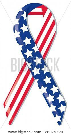 Satin awareness ribbon in American flag pattern, representing support of freedom and nation, remembrance of 9|11 and World Trade Center victims and heroes