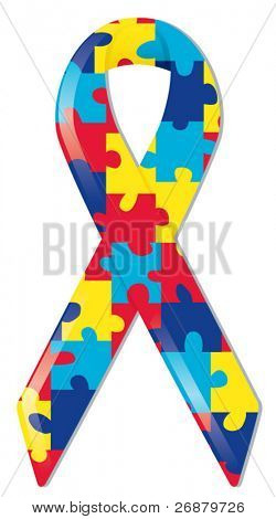 Satin awareness ribbon in brightly colored puzzle pattern, representing support of those with autism and Asperger Syndrome
