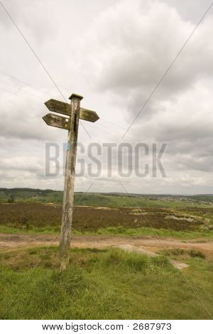 Sign Post On Penistone Hill Near Haworth