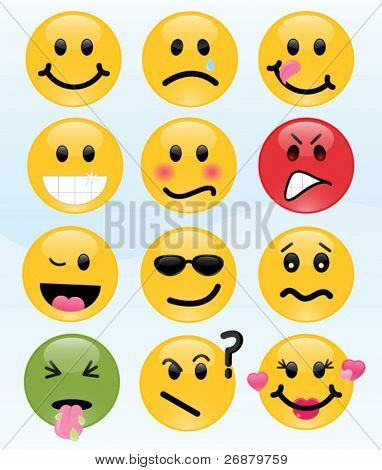 Twelve smileys, each with its own facial expression, including cool, sick, and in love.