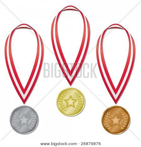 Image version of three medals in gold, silver, and bronze with red and white ribbons