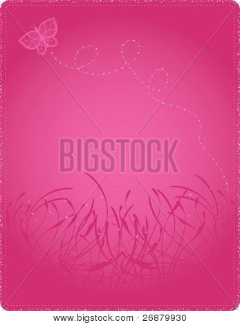 Glittering butterfly floating on a bright pink floral background; file contains clipping paths.
