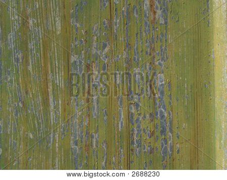 Green Grunge Peeling Paint Closeup Texture