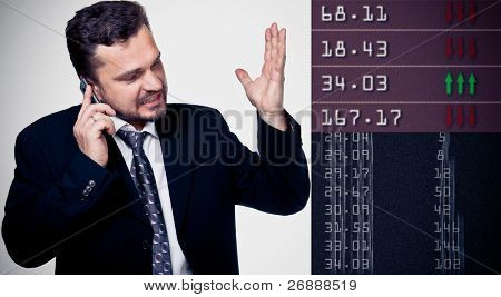 Portrait of a mature businessman screaming in his cellphone