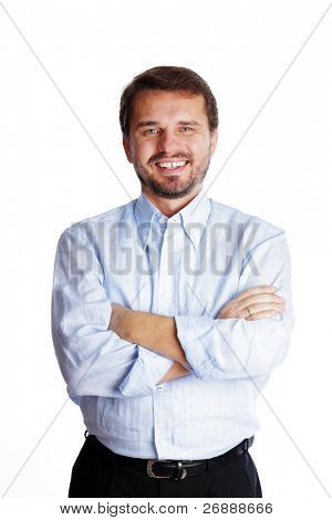 Happy mature businessman with arms folded, isolated over white background