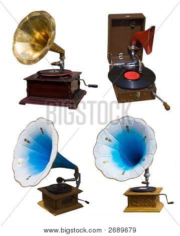 Set Of Vintage Gramophones
