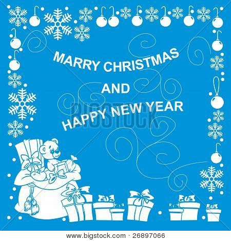 New Year card with gift on blue background
