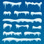 Snow Ice Icicle Set Winter Design. Winter Snow Caps With Ice. Snowdrifts, Icicles, Elements Winter D poster