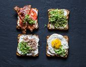Choice Of Sandwiches For Breakfast, Snack, Appetizers - Avocado Puree, Fried Egg, Tomatoes, Bacon, C poster