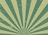 Sunlight Retro Faded Grunge Background. Green And Beige Color Burst Background. poster