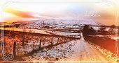 Pendle Hill At Sunset Time In Winter. Neatly Decorated With Christmas Graphic Elements.  The Hill Is poster