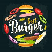Circle Shape Set With Flying Ingredients. Best Burger Handwriting Lettering. poster