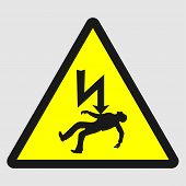 Triangle Sign: danger Of Death. Sign: danger Of Death On A Gray Background poster