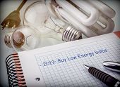 Objectives To Save In The Next Year, Reduce Energy Consumption, Buy Bulbs Of Low Consumption, Concep poster