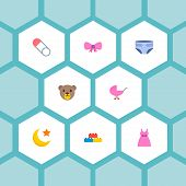 Set Of Baby Icons Flat Style Symbols With Diaper, Moon, Lego And Other Icons For Your Web Mobile App poster