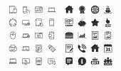 Mobile Device Line Icons. Set Of Laptop, Tablet Pc And Smartphone Signs. Hdd, Ssd And Flash Drives.  poster